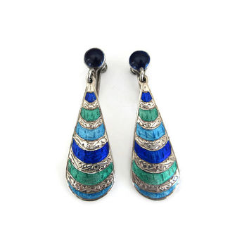 Siam Sterling Earrings, Blue Green Enamel, Sterling Earrings, Dangle Drop, Vintage Earrings, Vintage Jewelry