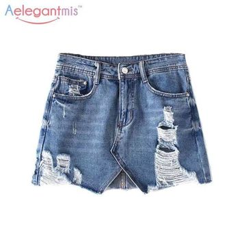 DCCKFV3 Aelegantmis Short Jeans Ripped Skirt Women Blue Denim Skirt High Waist Mini Jean Skirt With Holes Asymmetric A Line Saia Jeans