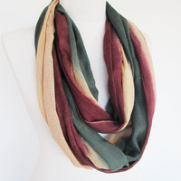 Cotton  Long Scarf,  Unisex Scarf, Cowl, Headband, Green / Burgundy / Cream
