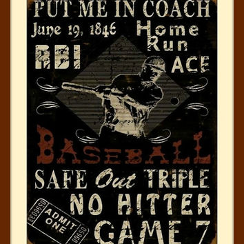 Baseball Wall Art, black wall decor, black wall art, man cave stuff, man cave art, vintage wall art, baseball art, free shipping