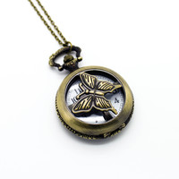 Butterfly locket pendant watch