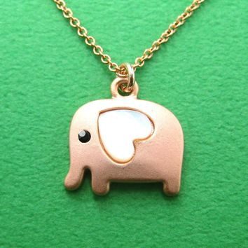 Elephant Animal Pendant Necklace in Light Copper with Heart Shaped Ears