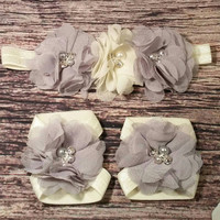 Baby Headband and Barefoot Sandal Set! Gray and Ivory Triple Rhinestone Pearl Chiffon Set! / Beautiful/ Newborn / Infant / Bows / Hairbands