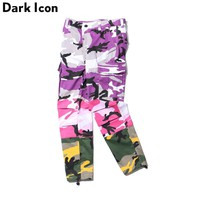 Pleated Patchwork Camouflage Cargo Pants Men 2017 Autumn Twill Material Loose Style Hip Hop Mens Pants