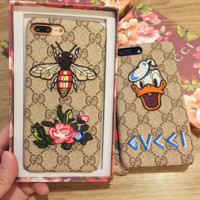 Gucci Embroider iphone 7iphone 6s 7iphone 7plus full bag frosted lovers case hard shell