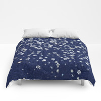 Snowflakes in space Comforters by anipani