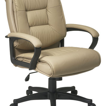 Office Star Deluxe Mid Back Executive Tan Glove Soft Leather Chair with Padded Loop Arms [EX5161-G11]