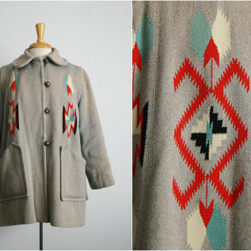 rare 1950s 50s CHIMAYO Southwest Swing Jacket Navajo Blanket Coat