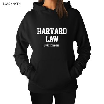 BLACKMYTH Stylish HARVARD LAW JUSTWomen Letter Clothing Pullover Hoody  Black White Grey Casual Sweatshirts Hoodies Tops