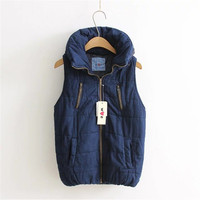 Fashion Autumn Female Thick Outwear Sleeveless Stand Patchwork Jacket Plus Size Denim With Zipper Packet 71971 GS