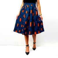 Below the Knee Blue African Print Skirt, African Clothing