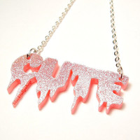 Spooky Cute Necklace Pastel Goth Pink Glitter Laser Cut Dripping Cute (The Original)