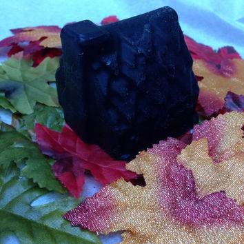 Haunted House Soap Bar: Apple Cider Scented Black Soap Bar with Hints of Purple. Halloween, Goth, Fall, Spooky, Autumn.