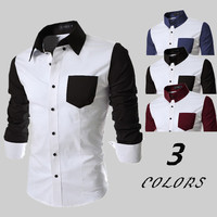 Color Contrast Slim Shirt