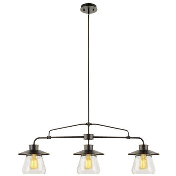 Globe Electric 64845 3 Light Vintage Hanging Island Pendant Light Fixture Oil...