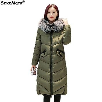 Winter jacket Woman coats Long Jackets Ladies Knee length Padded cotton jacket Large fur collar Hooded outwear
