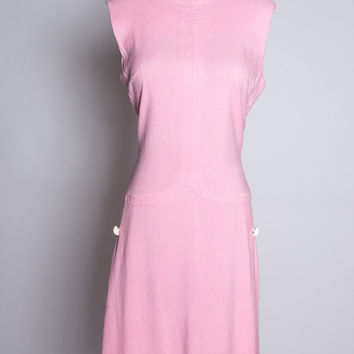 Vintage 60s Bubblegum Pink Mod Sleeveless Linen Scooter Dress w Hip Detail