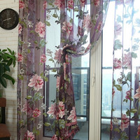 Stylish Floral Tulle Voile Window Curtain Panel Sheer Drape Scarf Valances C93 [8426130823]
