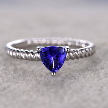 1.5ctw Trillion Tanzanite Engagement ring,Solitaire wedding band,14K White Gold,Gemstone Promise Bridal Ring,Blue Gemstone ring,Filigree