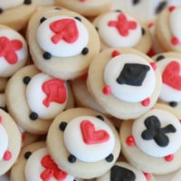 Ace, Spade, Heart, Diamonds Cookie Nibbles - 5 Dozen Miniature Vanilla Sugar Cookies