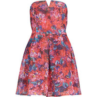 River Island Womens Pink floral print bandeau prom dress