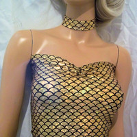 Gold and Black Mermaid  Top, Mermaid  Top  And  Choker,  Sexy Top, Gold Fishscale Top, Halloween Top, Party Top, Costume Top, Pretty Top