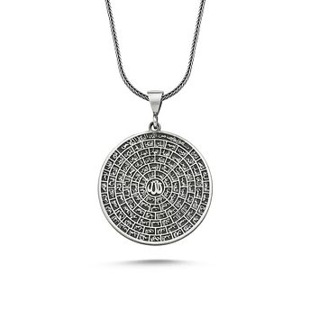 Esma-ul husna 99 names of allah/god pendant 925k sterling silver necklaces with chain