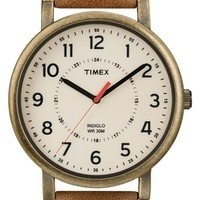 Timex Antiqued Case & Leather Strap Watch, 42mm - Brown/ Gold