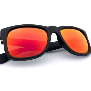 Cheap *New* Ray-Ban Justin Color Mix Red Orange Mirror Lens Black RB4165 622/6Q 51MM outlet