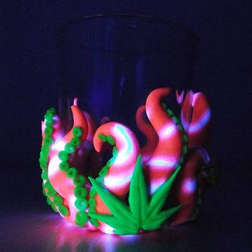 Octopus/Cannabis Votive Candle Holders-pink/white -blacklight, unique, gift for him, cool, birthday, men