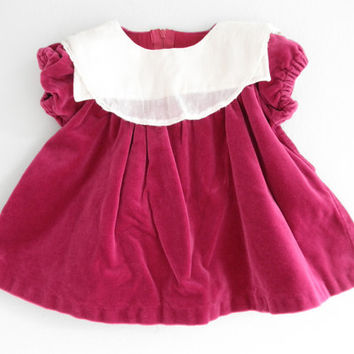 Vintage Baby Velvet Dress Lace Collar Clothing Newborn Dress Infants Gown Size 3 Month Baby Dress Photo Props