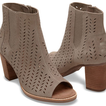 DESERT TAUPE SUEDE PERFORATED LEAF WOMEN'S MAJORCA PEEP TOE BOOTIES