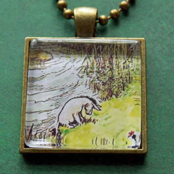 Winnie the Pooh Pendant Necklace, Eeyore Necklace, Eeyore Illustration, Glass Tile Pendant, Glass Tile Necklace, Bronze Bezel, Bronze Chain