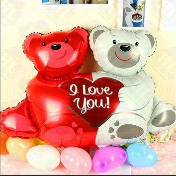 2015 1pc 58*88CM Wedding Decoration Foil Love Baby Bear Balloon Wedding Birthday Party Balloons QQ018 (Size: 50 g, Color: Red) = 1945862724