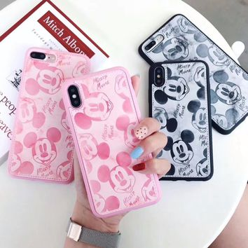 Luxury PU Leather Cartoon Mickey Mouse Cases For iPhone 6 6S 8 Plus X Soft Marble White Black Pink Phone Case for iPhone 7 7Plus