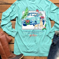 Our A Lot Like Christmas Long Sleeve Tee By Lily Grace is perfect for any Southern Fried Preppy Chic! It features a old truck with a dog and Christmas decor. ''It's beginning to look a lot like Christmas'' under. Chest pocket with Lily Grace logo on it.