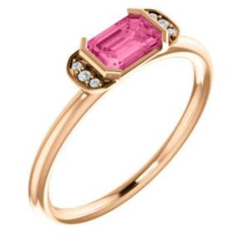 14K Rose  Pink Tourmaline & .025 CTW Diamond Stackable Ring