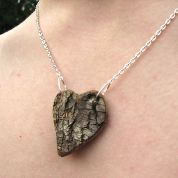 Treehugger heart Necklace Rustic Natural Bradford Pear Wood by tanjasova
