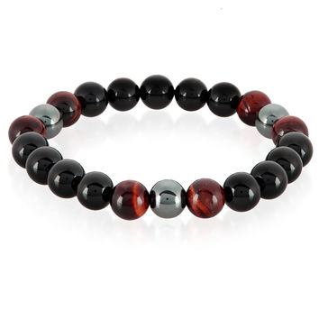 Crucible Men's Red Tiger Eye, Onyx and Hematite Polished Natural Healing Stone Bead Stretch Bracelet - 8.5 inches (10mm Wide)                                              by West Coast Jewelry