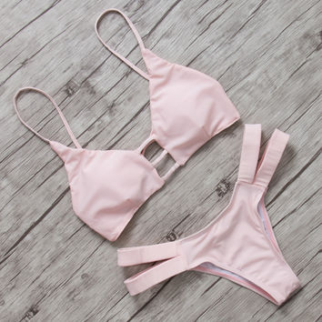 PINKCOSER Lingering Farewell Lace Up Bikini Set