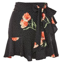 Spot Flower Ruffle Mini Skirt - New In Fashion - New In