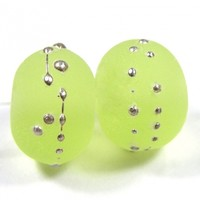 Transparent Yellow Green Handmade Lampwork Glass Beads 071 Shiny (Choices of Etched, .999 Fine Silver, Shapes, Sizes, Large Hole Beads Extra)