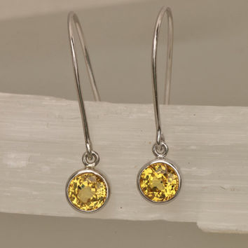 Yellow Sapphire 14k White Gold Bezel Set Dangle Earrings Round Shape Fine Gemstone Jewelry Gift for Her