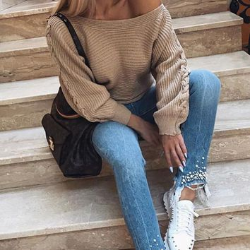 Urban Attitude Long Bat Wing Sleeve Off The Shoulder Lace Up Pullover Sweater - 2 Colors Available
