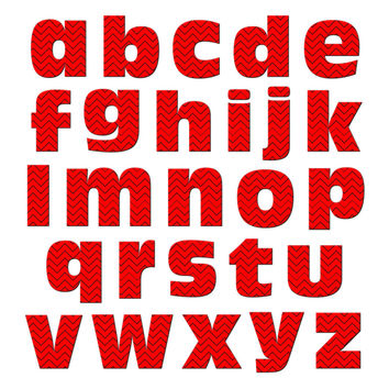Alphabet Letters Lowercase Chevrons Red Zig Zag MAG-NEATO'S TM Refrigerator Magnet Set