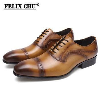 Classic Lace Up Men Genuine Leather Oxford Shoes Pointed Toe Weddings Business Brown D