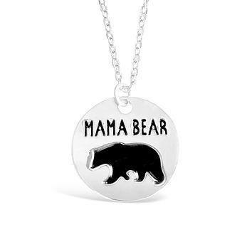 Round Silver Mama Bear Pendant Necklace