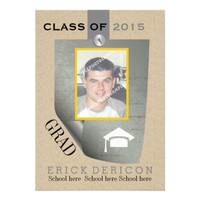 Class of 2015 pinned note Graduation grey photo invitation