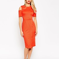 ASOS Pencil Dress in Rib with Cold Shoulder
