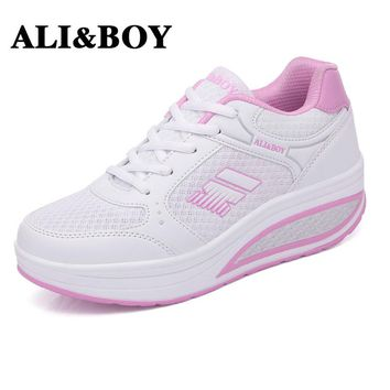 ALI&BOY Outdoor Slimming sneaker Women's Running Fitness Platform Shoes Increasing Walking Breathable Swing Shoes Wedge sneakers